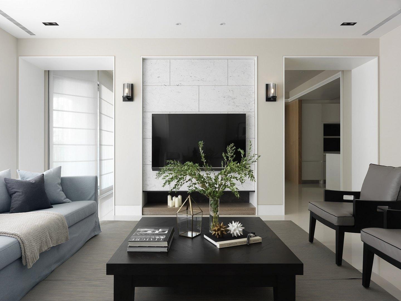 135㎡现代简约二居电视背景墙装修效果图