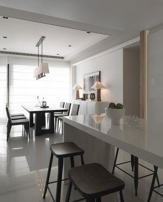 135㎡现代简约二居装修吧台效果图