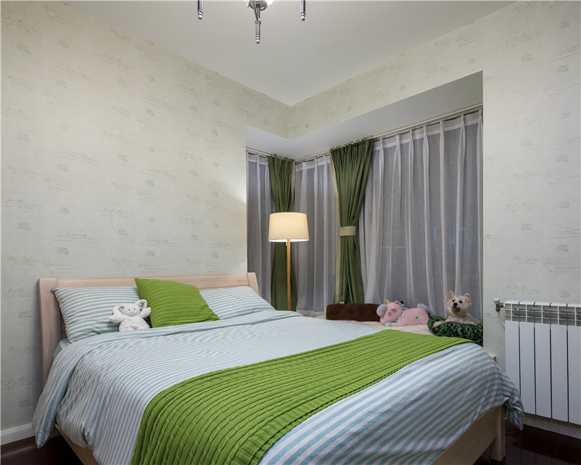 美式混搭风格二居卧室装修设计图