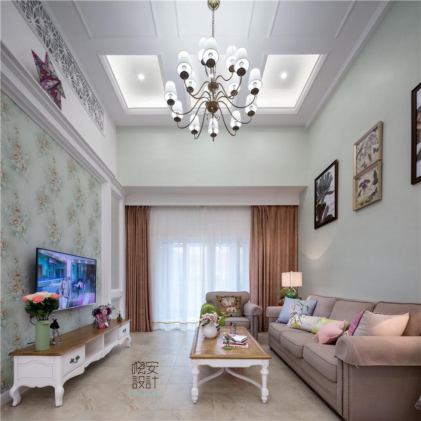 现代美式风格复式装修客厅效果图