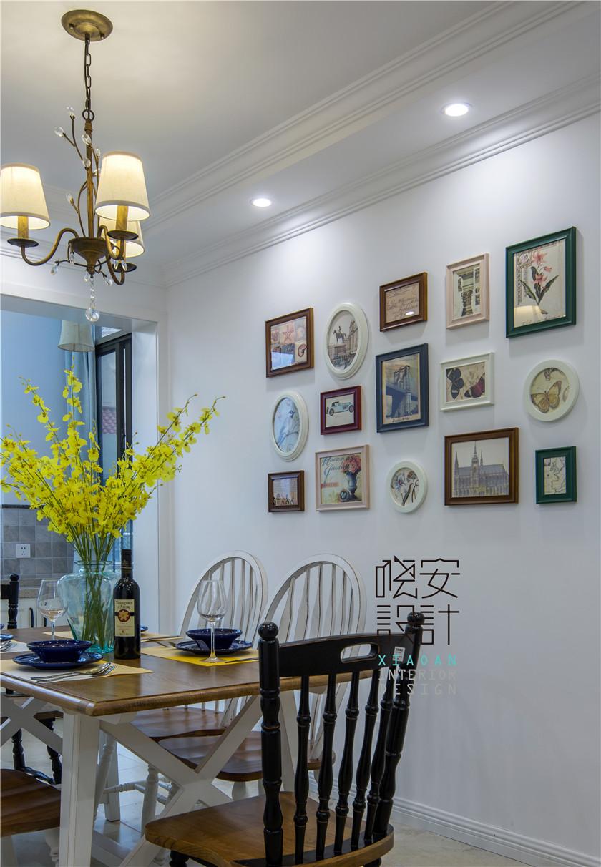 现代美式风格复式装修照片墙布置图