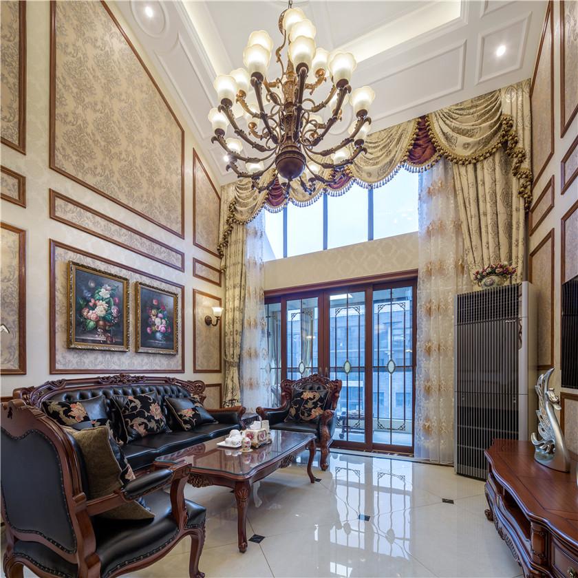 新古典美式风格别墅客厅装修效果图