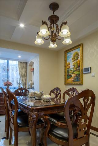 新古典美式风格别墅装修餐桌椅设计图