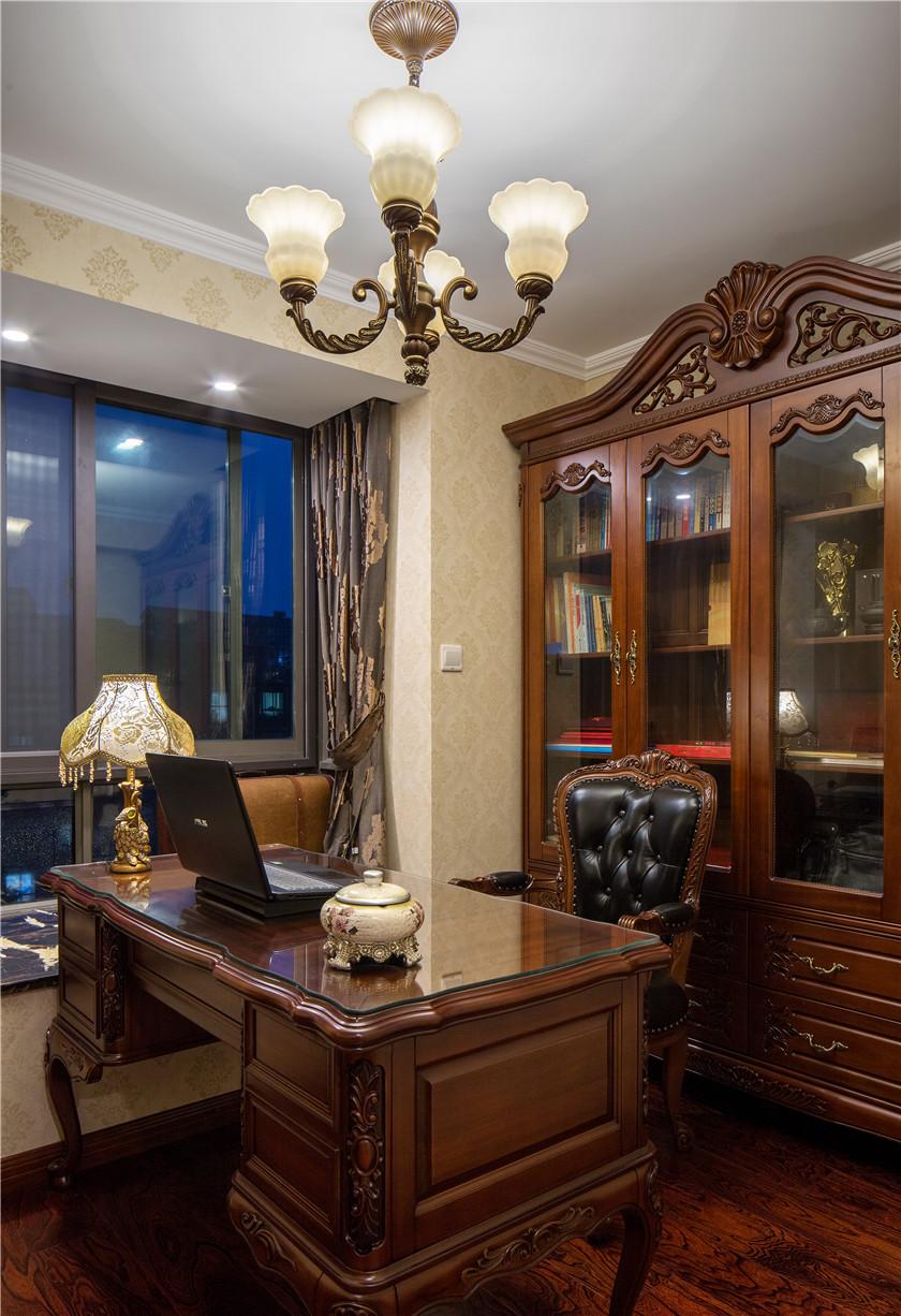 新古典美式风格别墅书房装修效果图