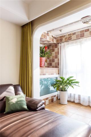 美式休闲两居室装修阳台一角