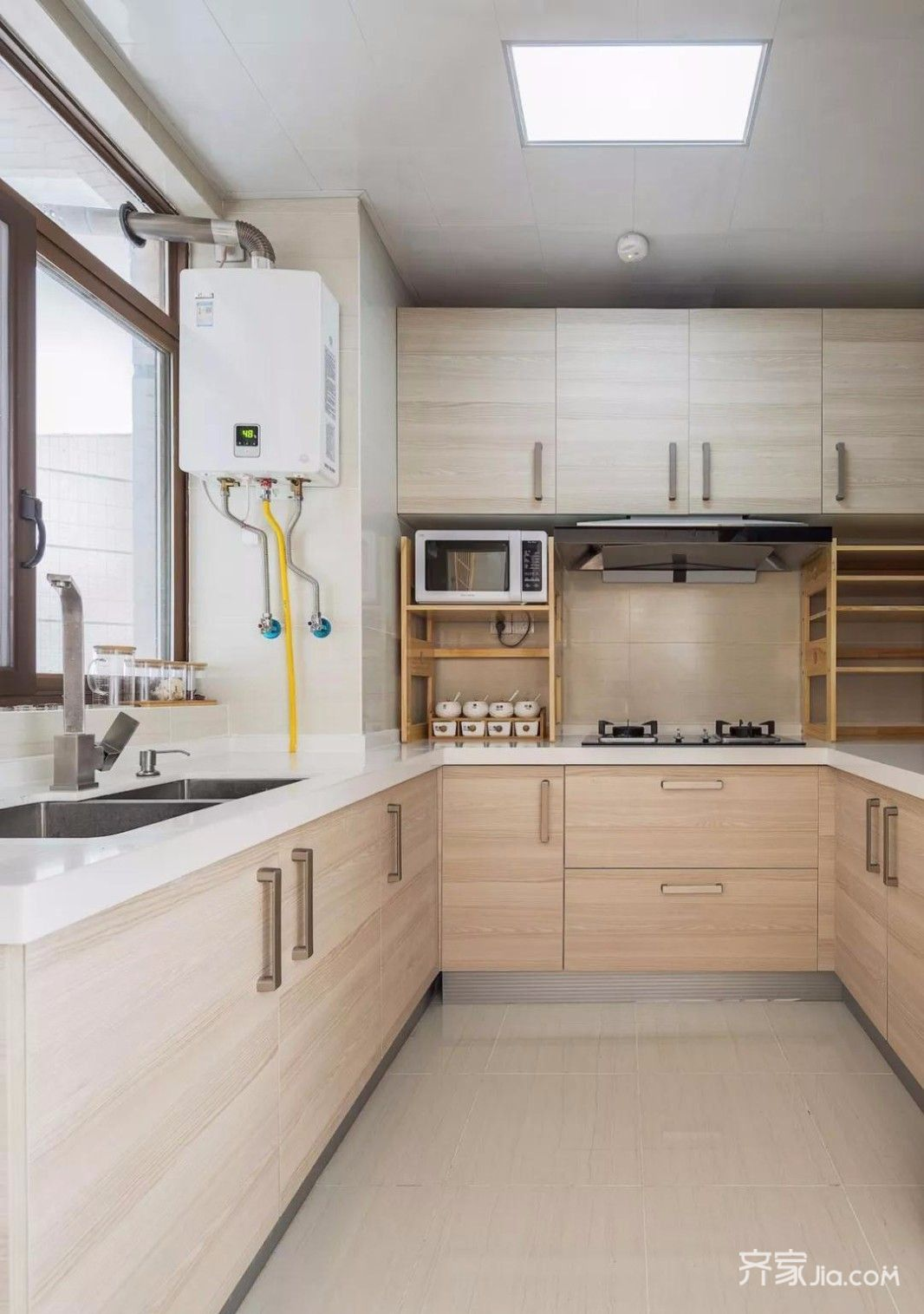 木质地板效果图_11.8万100平米现代三房装修效果图,木色系清爽简约装修案例效果图 ...
