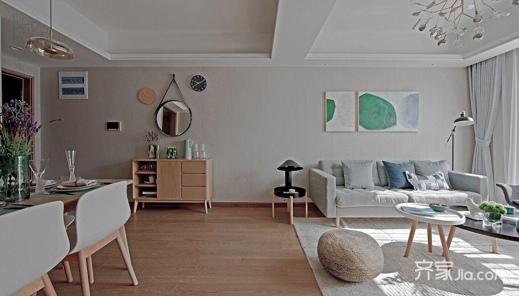 绿色齐家_12万110平米现代三房装修效果图,110平方宜家风格绿色系装修案例 ...