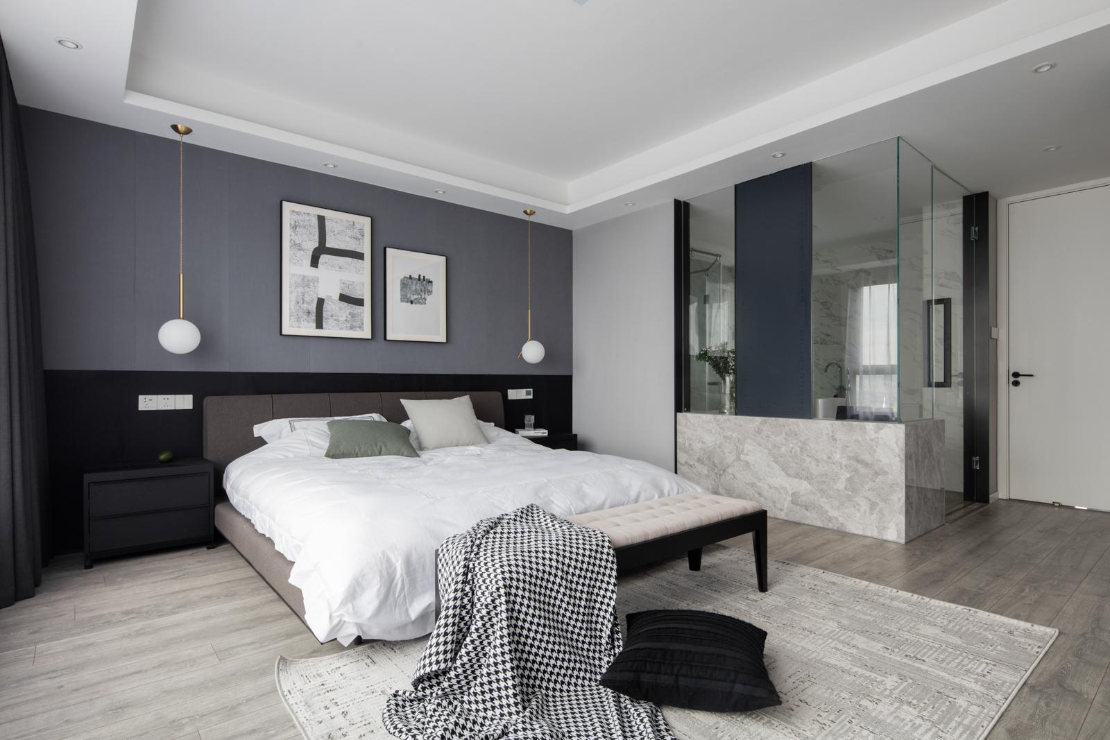 143平现代简约三居卧室装修效果图