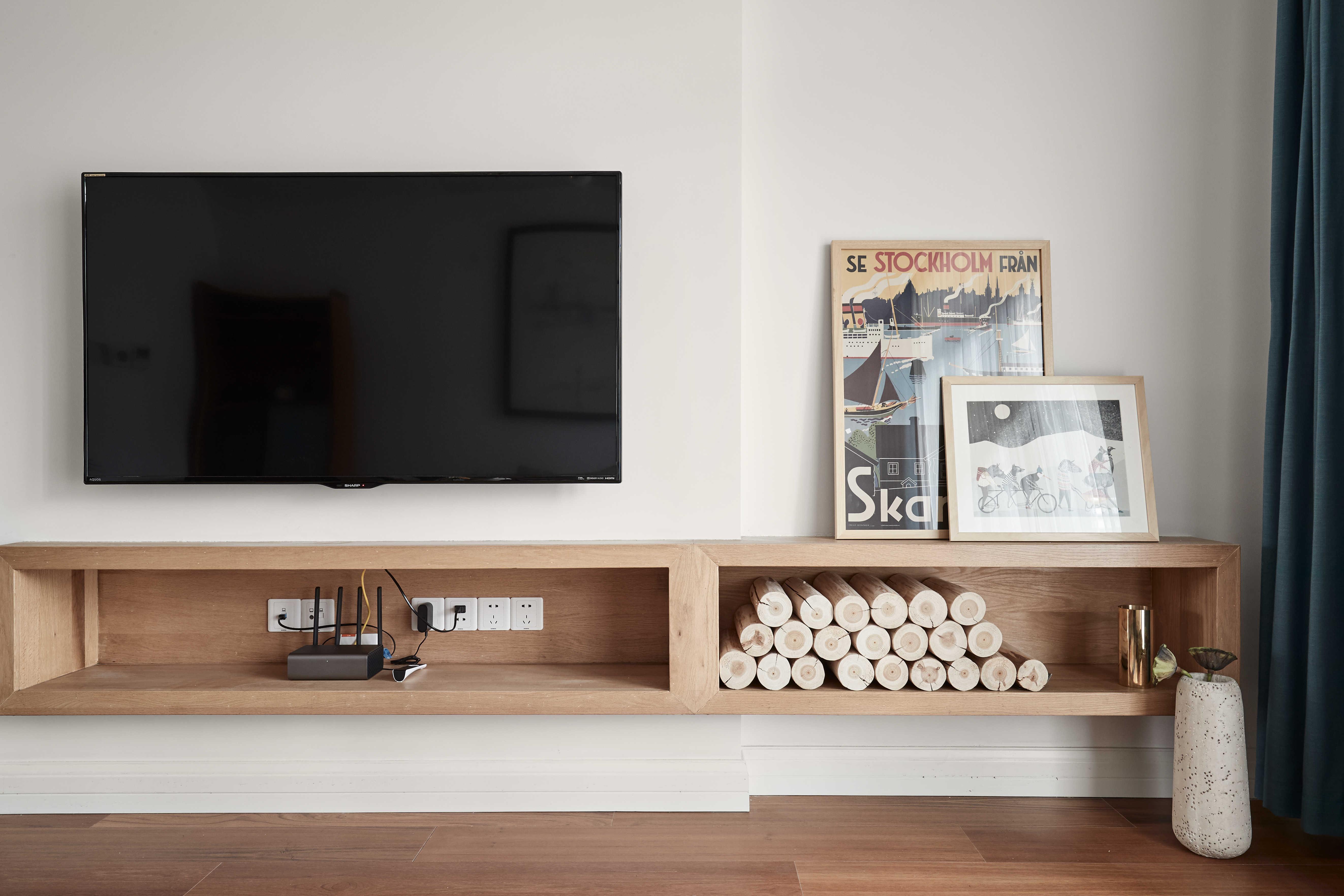 136平自然简约风电视柜设计图