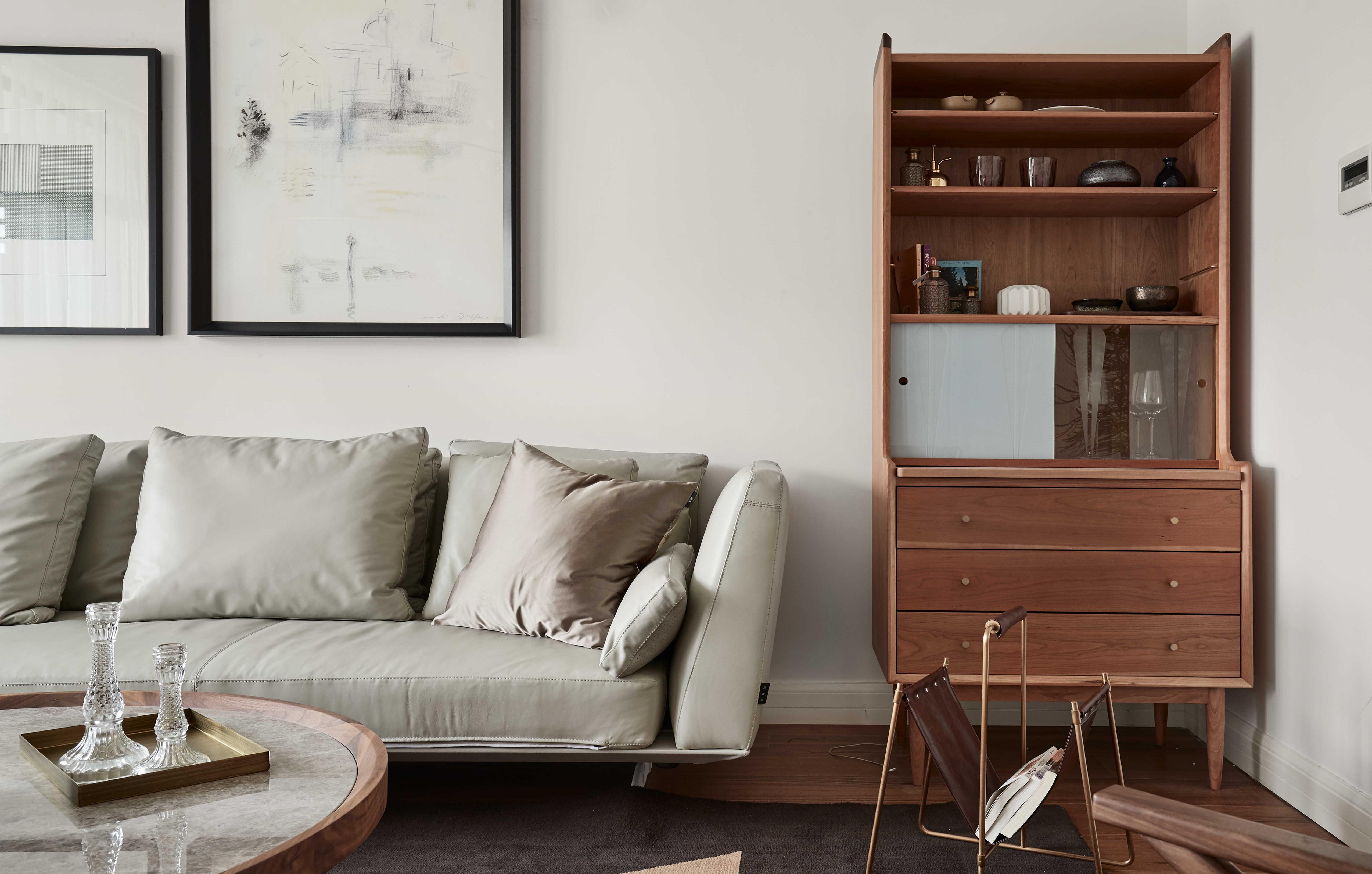 136平自然简约风客厅储物柜设计图