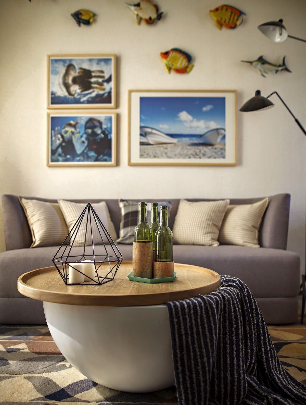 小户型北欧风两居室装修茶几摆饰特写