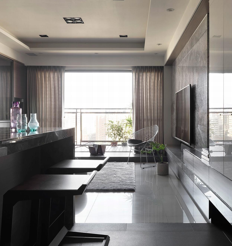 后现代风格三居室装修吧台设计图