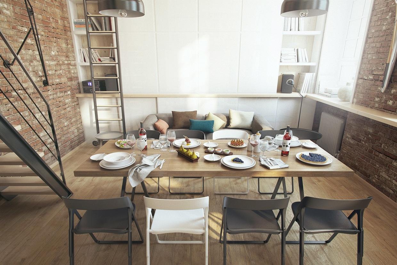 小户型Loft公寓装修餐桌设计图