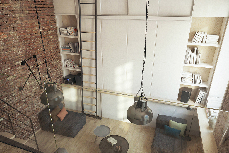 小户型Loft公寓装修吊灯设计图
