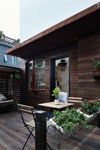 大户型复古风公寓露台装修效果图