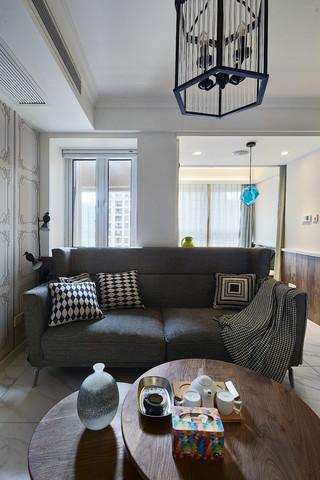 125㎡北欧风格三居装修灰色沙发设计