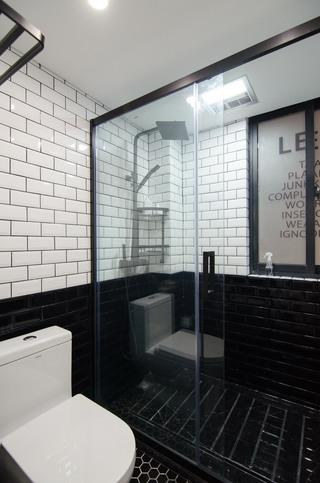 65㎡北欧风一居室黑白卫生间装修效果图