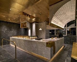 面包店装修 大理石与黄铜的完美结合