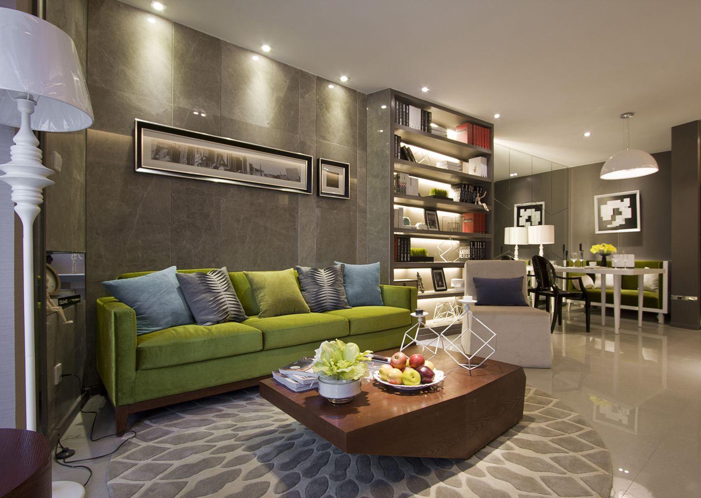 现代简约二居室客厅沙发墙装修效果图