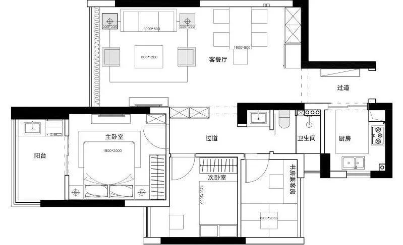 成都三室二厅装修 118平现代美式三居设计