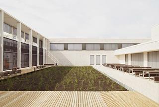 开放简约教学楼庭院设计效果图