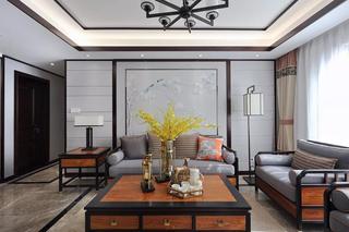 新中式风格沙发背景墙装修设计图