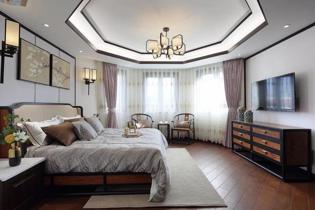 新中式风格大户型卧室装修设计图