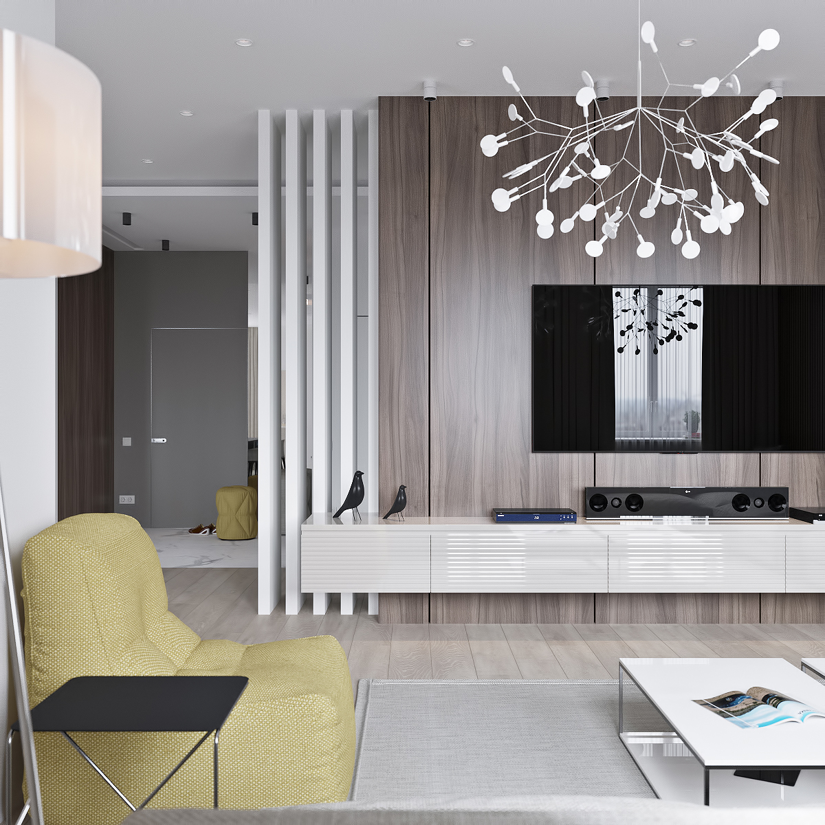 简约风格公寓电视背景墙装修设计效果图