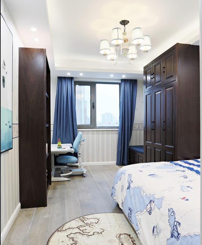 现代美式混搭三居卧室衣柜装修效果图