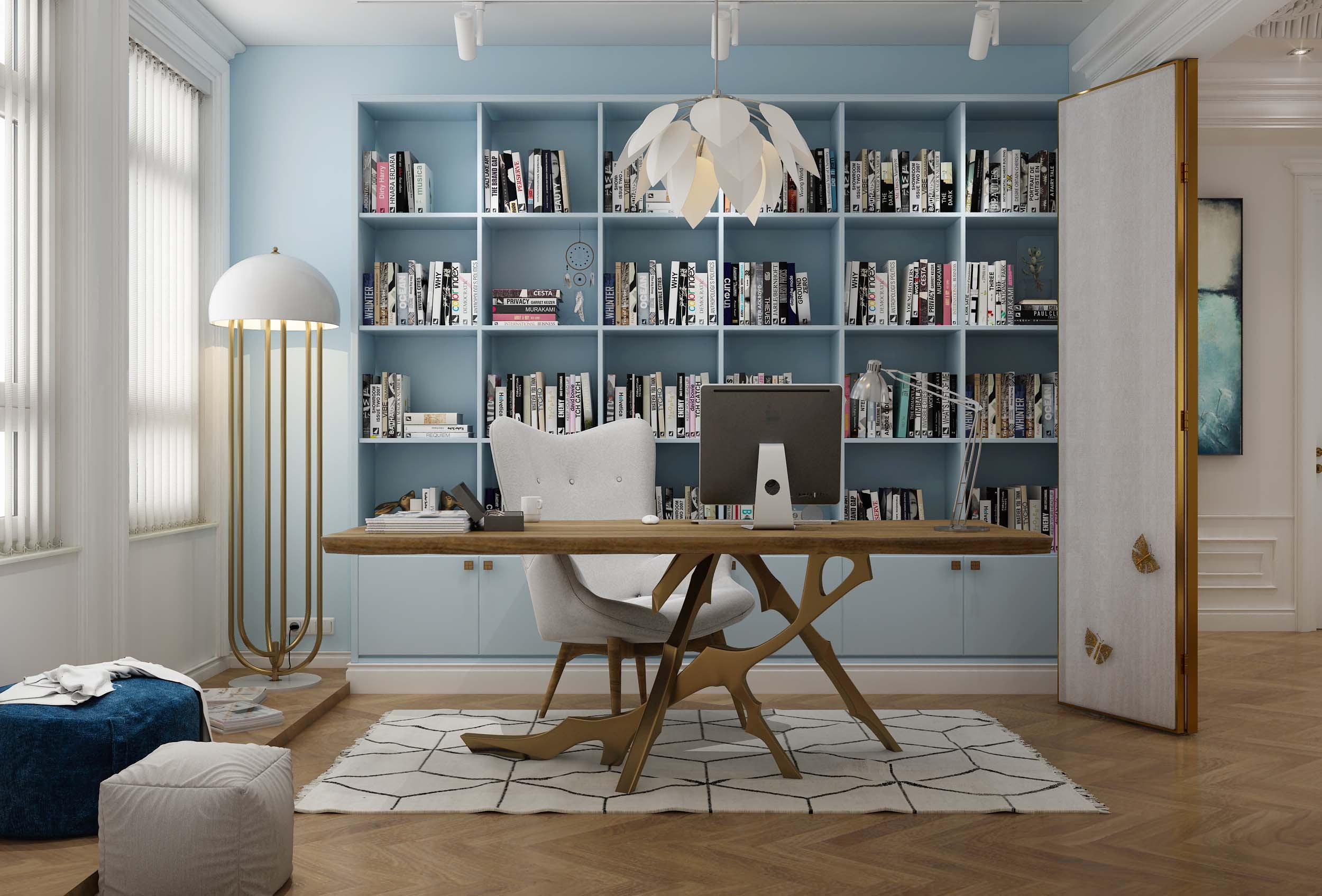 欧式古典风格书房装修效果图