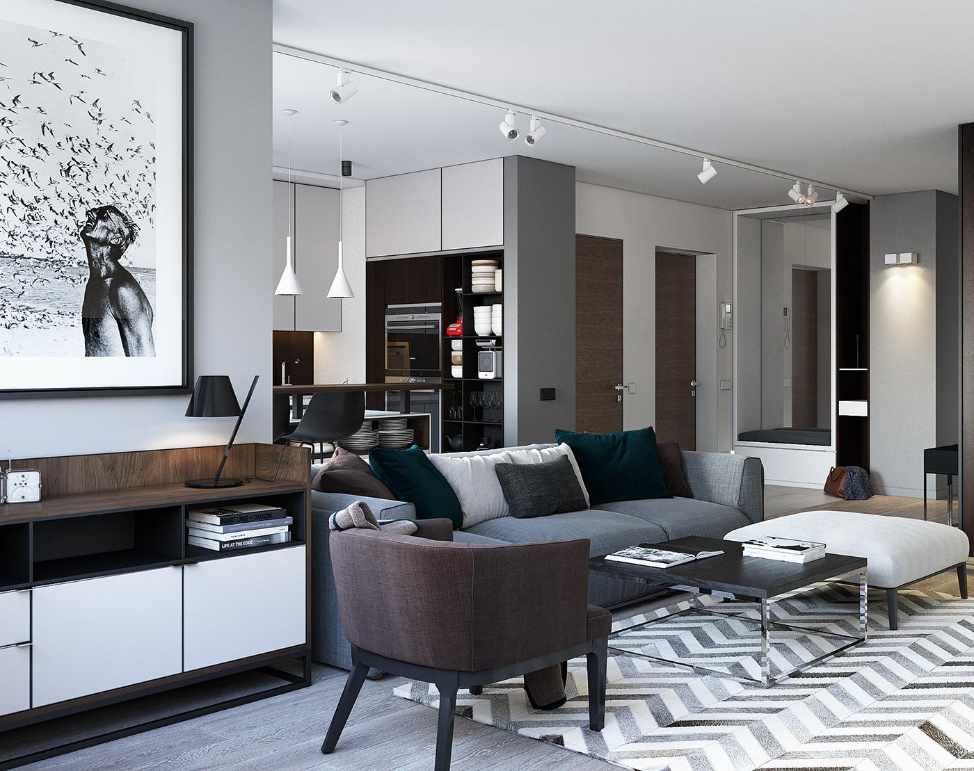 现代简约公寓装修沙发设计效果图