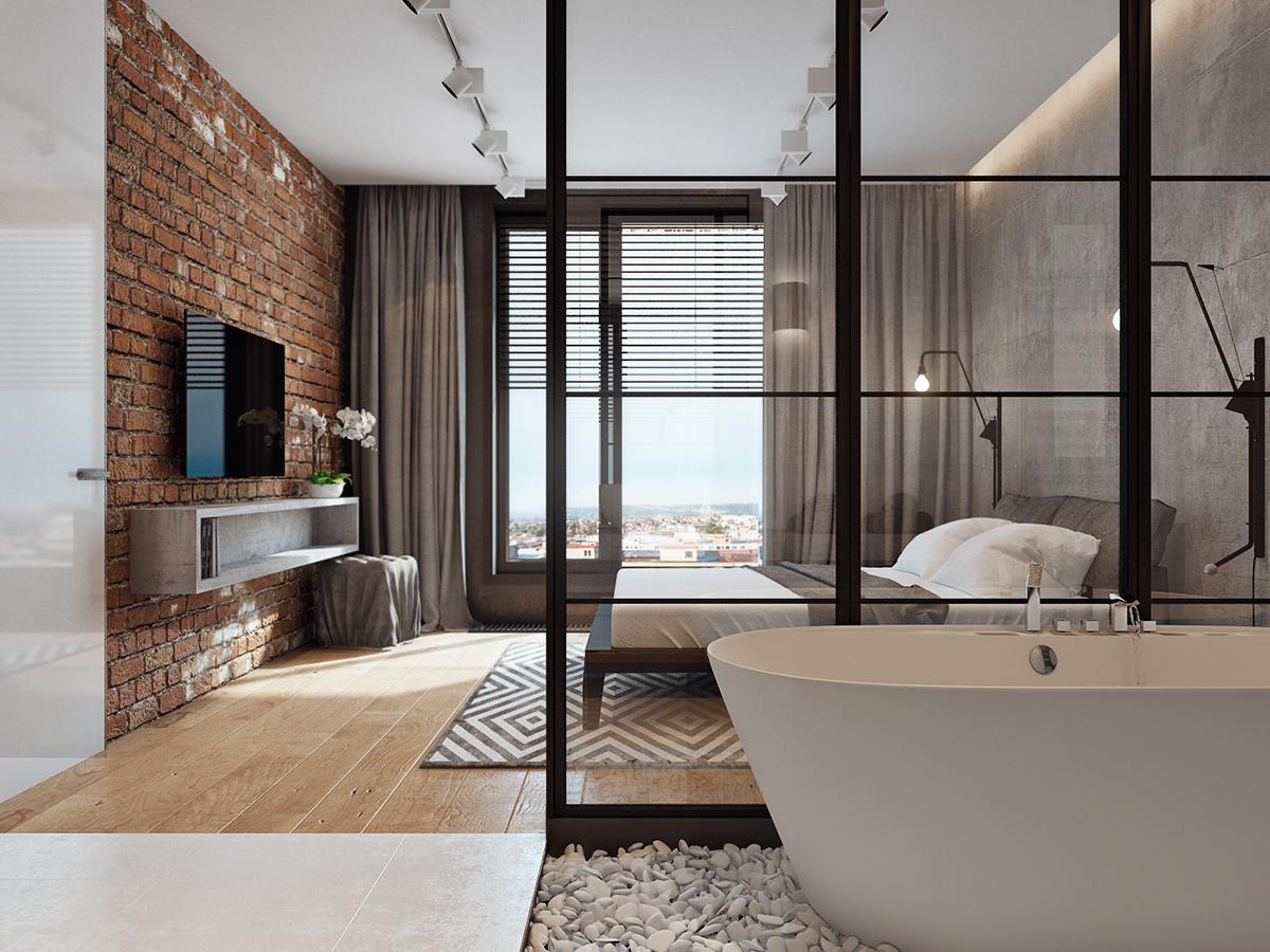 复古工业风格公寓卧室装修效果图