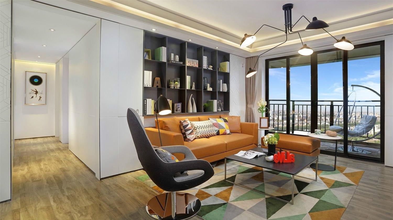 现代简约时尚三居室沙发背景墙装修效果图