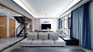 现代中式大户型复式客厅装修效果图