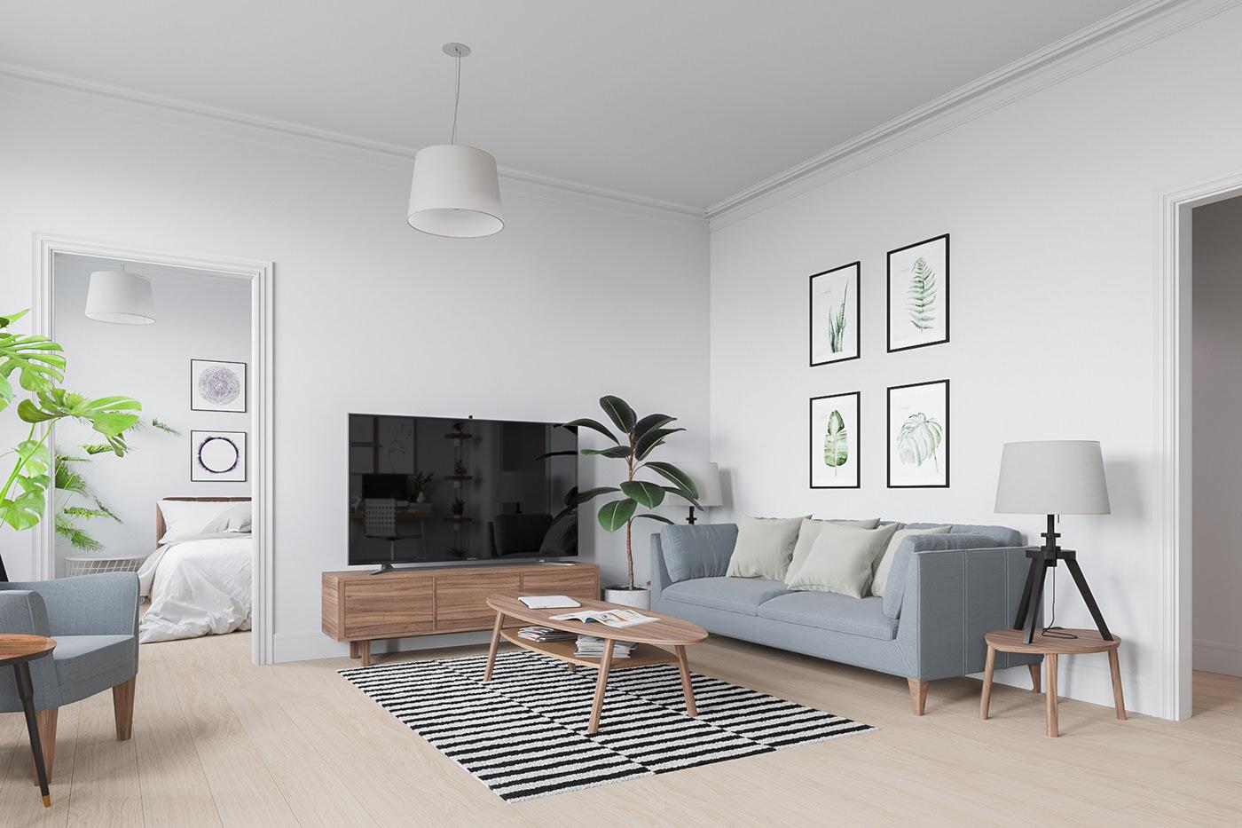 北欧简约风格公寓客厅装修效果图