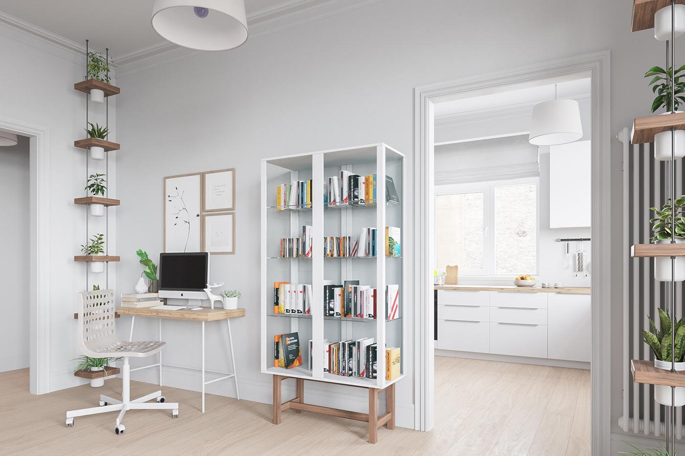 北欧简约风格公寓装修书架设计图