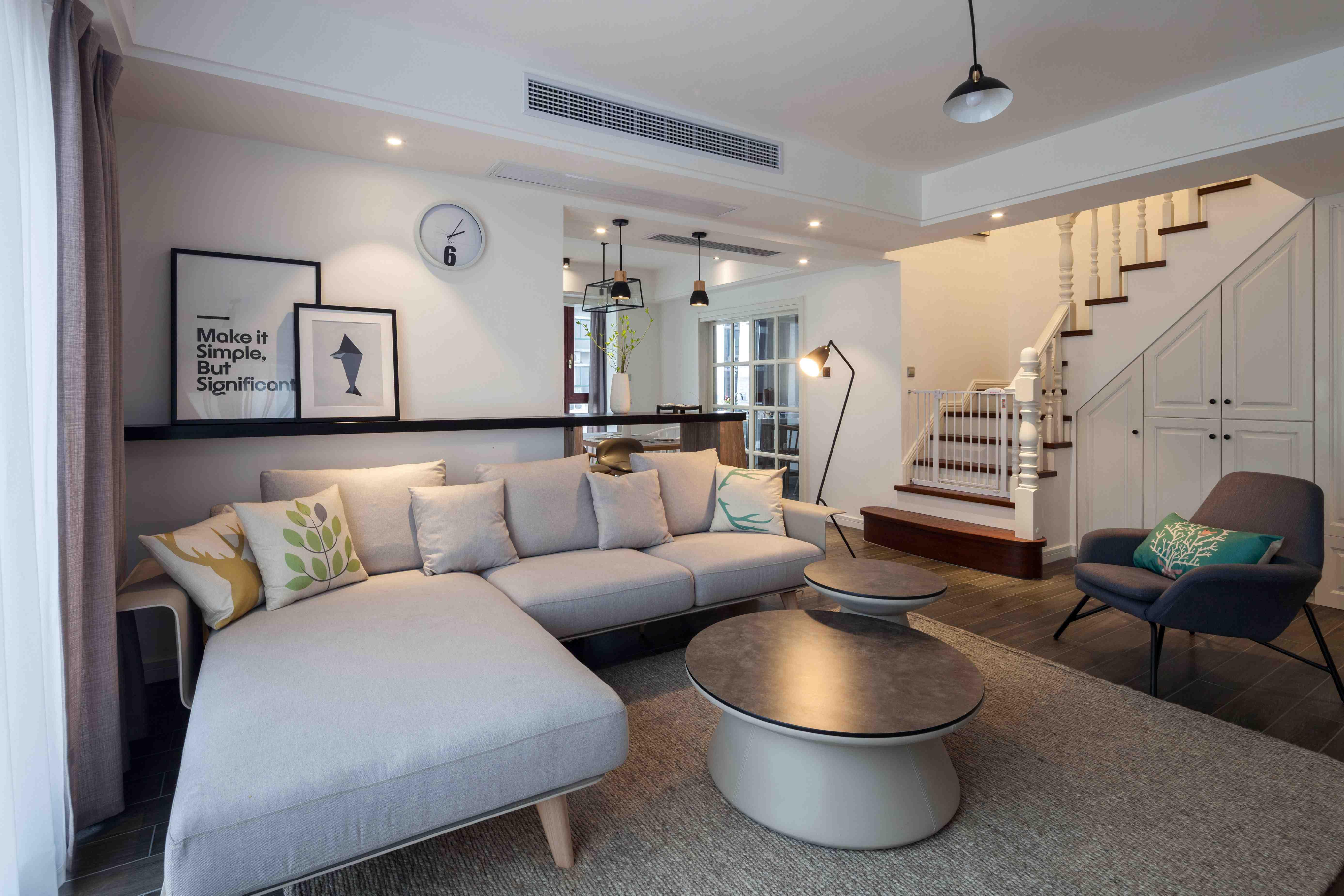 北欧风装修客厅沙发布置图