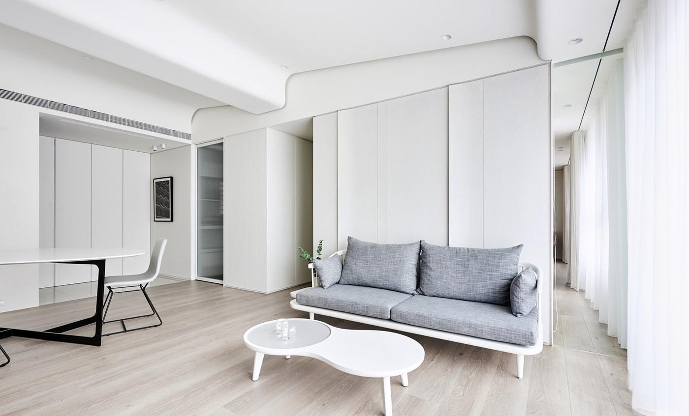 极简风白色公寓沙发背景墙装修效果图