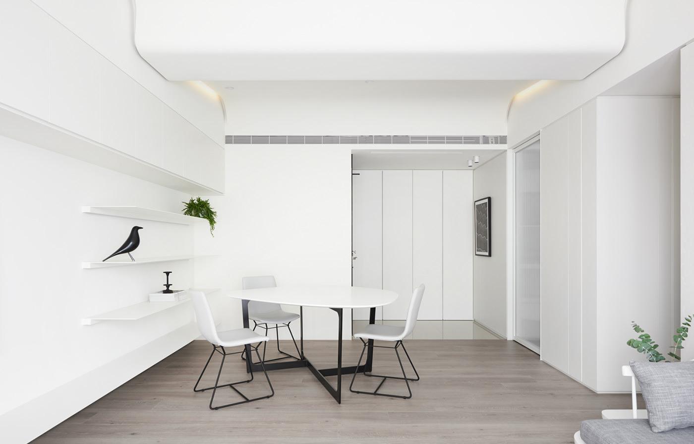 极简风白色公寓餐厅装修效果图