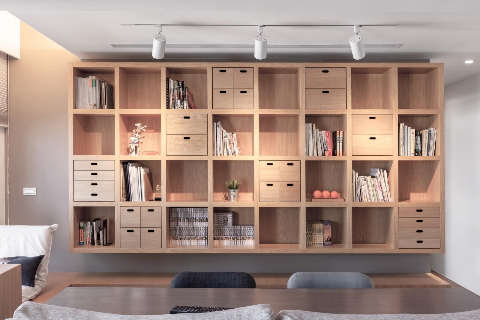 北欧原木风公寓书柜装修效果图