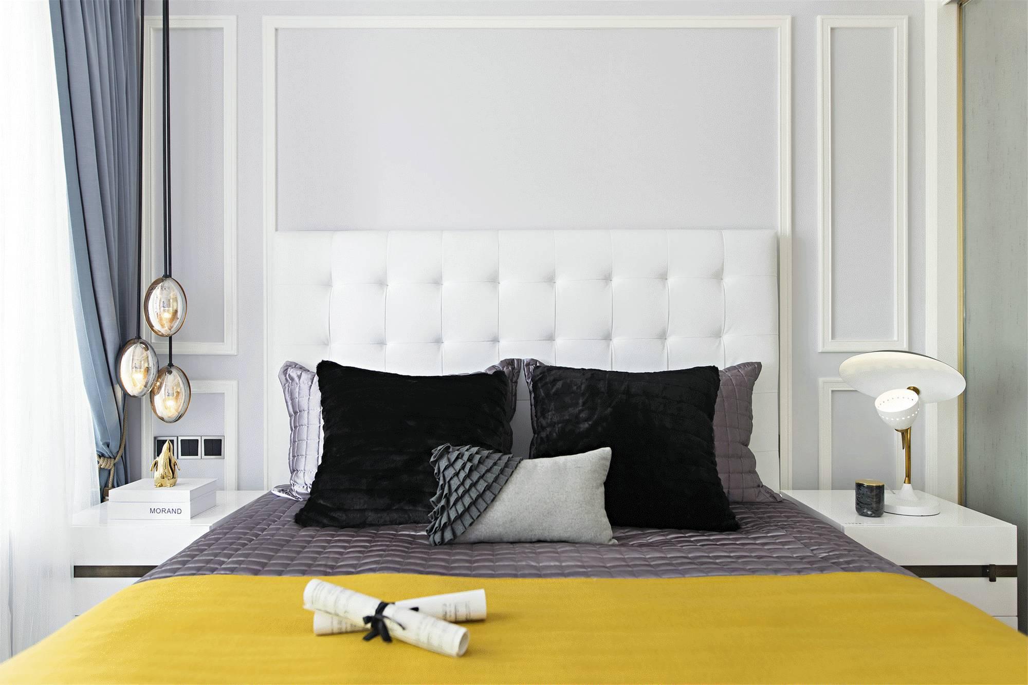 时尚简美混搭卧室背景墙装修效果图