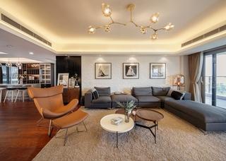 大户型现代北欧风沙发背景墙装修设计图
