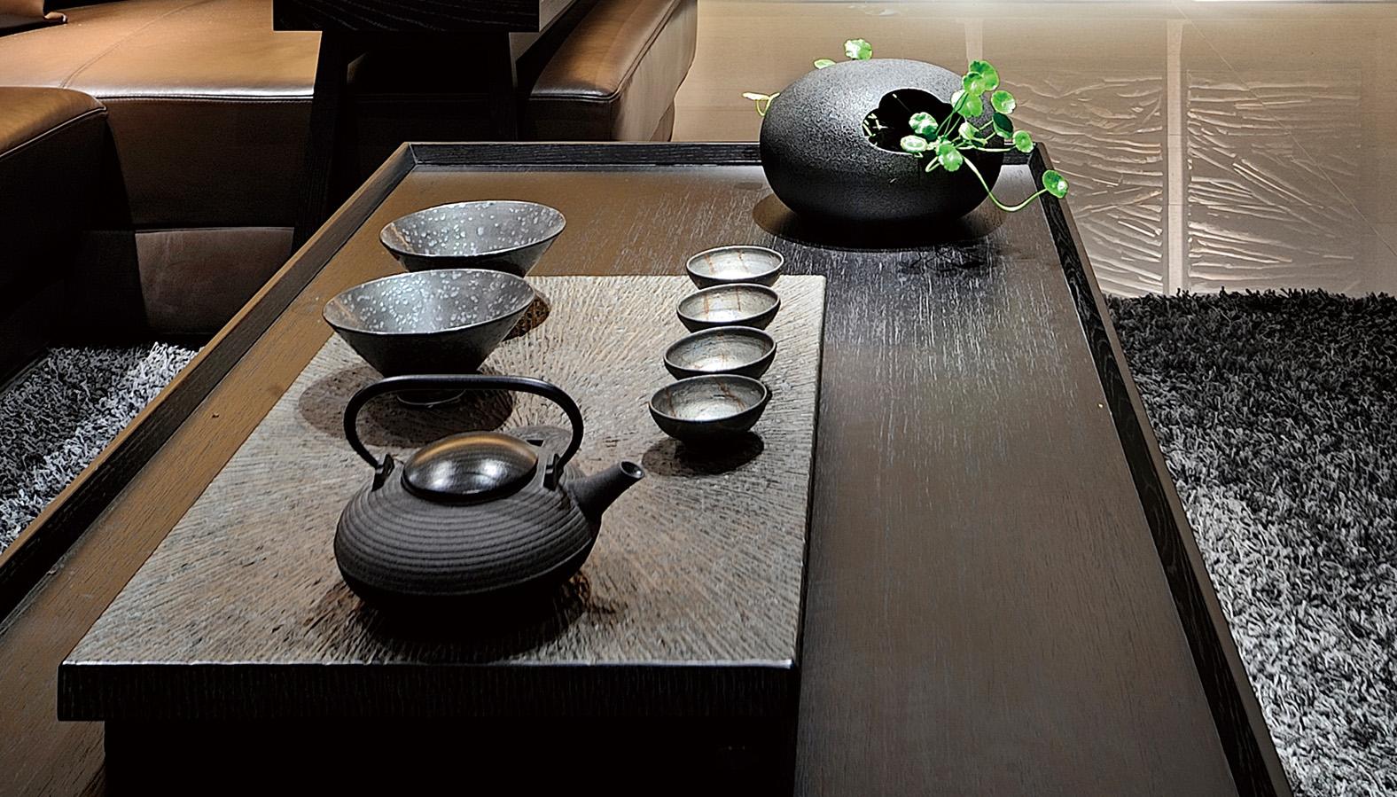 现代风格三居装修茶几特写