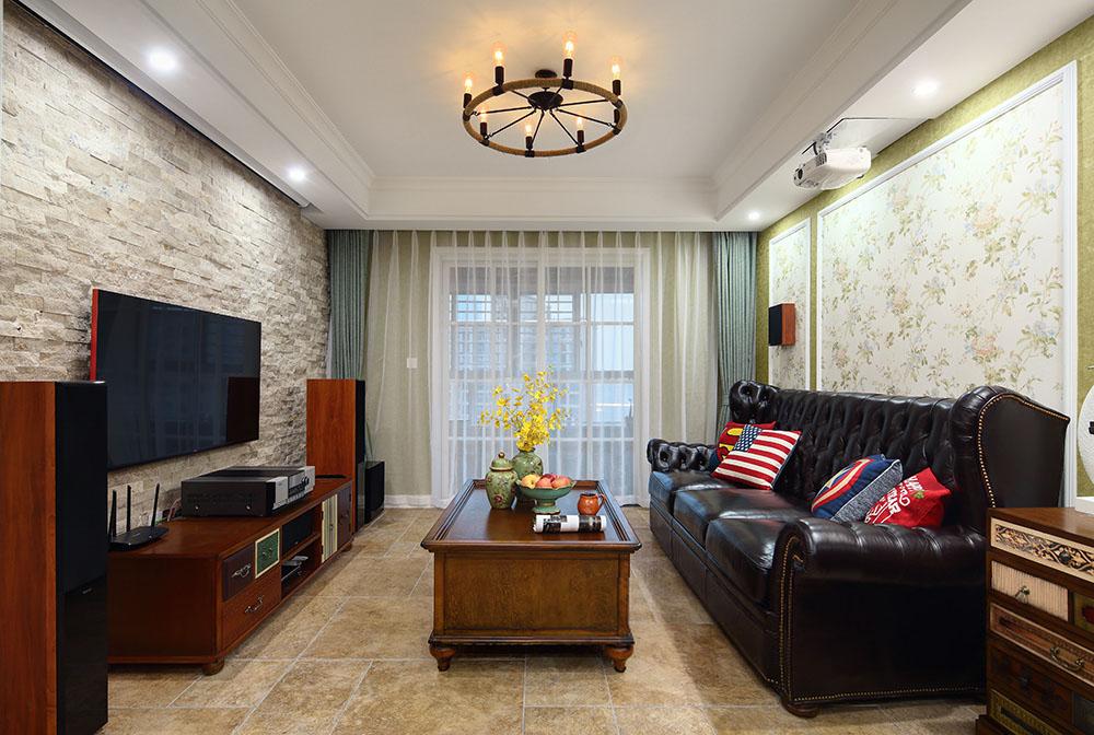 美式田园风格三居客厅装修效果图