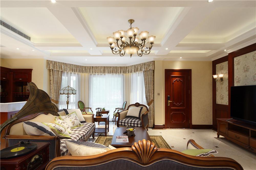 美式轻奢风别墅客厅装修效果图