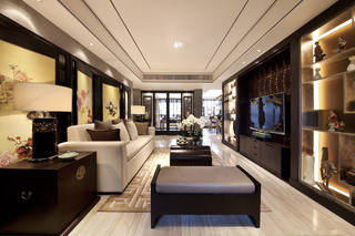 142㎡中式风格客厅装修效果图