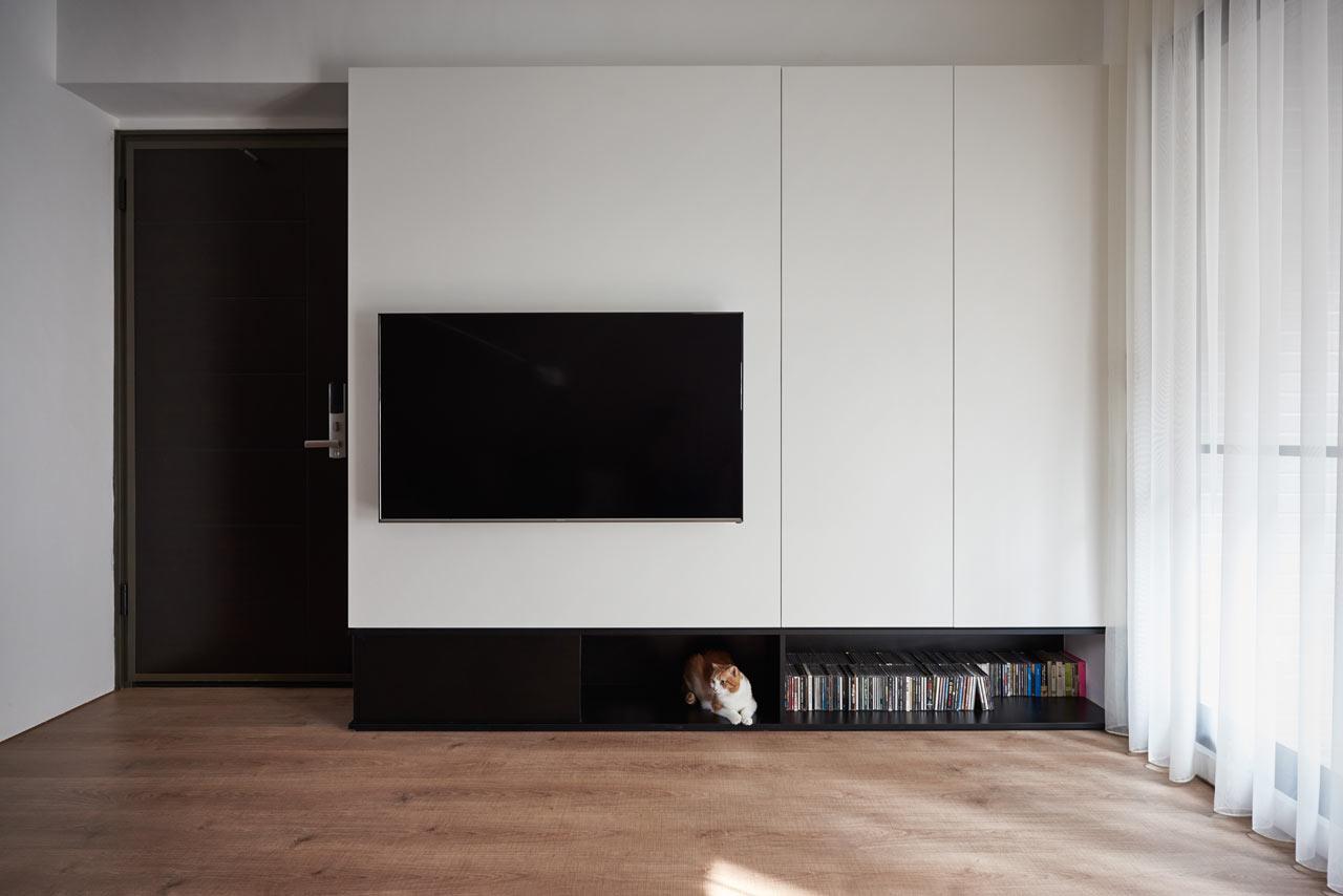 69平简约风公寓电视背景墙装修效果图