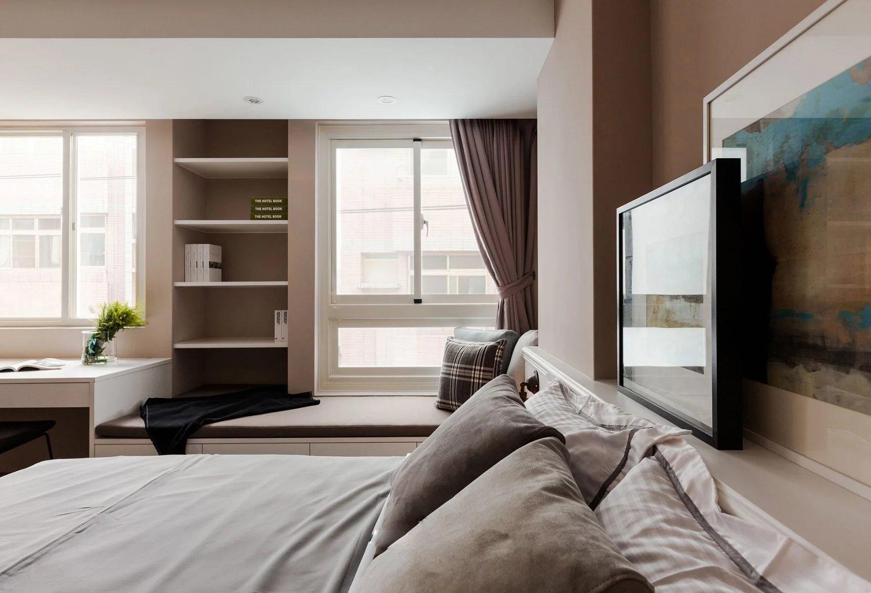 75平现代简约公寓卧室飘窗装修效果图