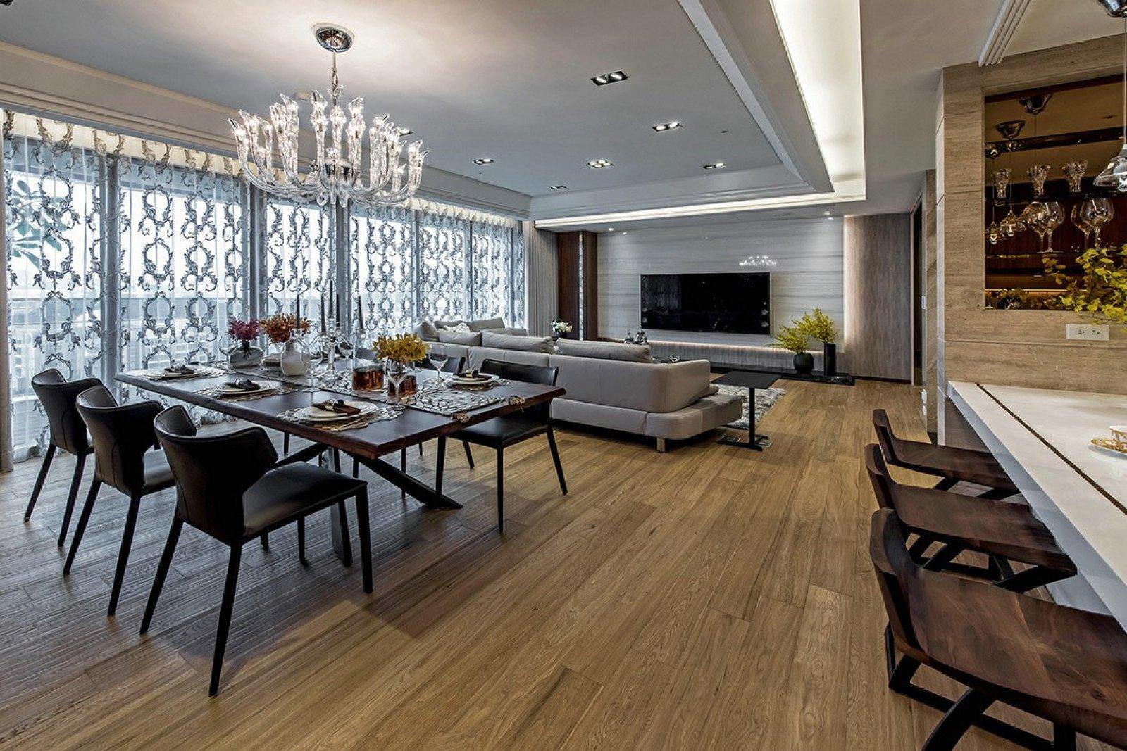 大户型现代风格客餐厅装修效果图