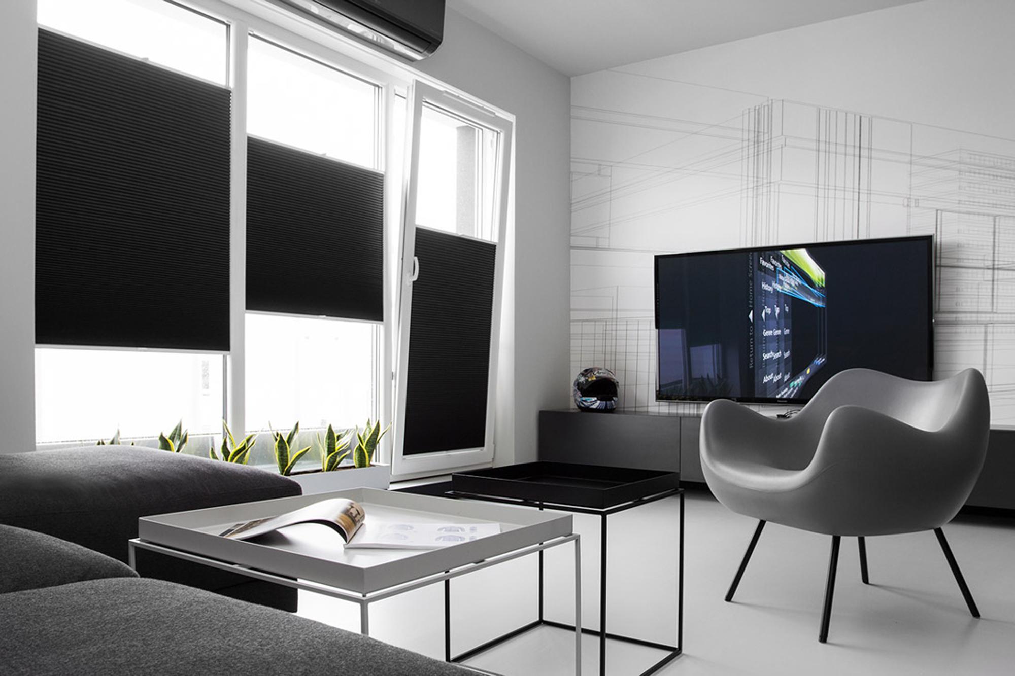 黑白简约风公寓客厅装修效果图